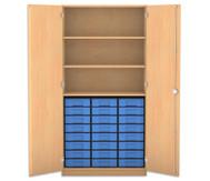Flexeo Hochschrank mit 3 großen Fächern, 24 kleinen Boxen und Türen
