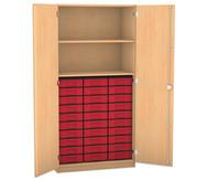 Flexeo Hochschrank mit 2 großen Fächern, 15 großen Boxen und Türen