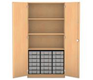 Flexeo Hochschrank mit Drehtüren, 3 Fachböden 18 kleine Boxen, HxB: 190 x 94,4 cm