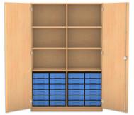 Flexeo Hochschrank mit Drehtüren, 6 Fachböden mit Mittelwand, 24 kleine Boxen