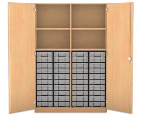 Flexeo Hochschrank mit 4 Faechern 40 kleinen Boxen und Tueren
