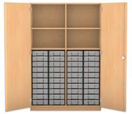Flexeo Hochschrank mit Drehtüren, 4 Fachböden mit Mittelwand, 40 kleine Boxen