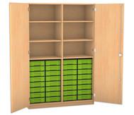 Flexeo Hochschrank mit Drehtüren, 6 Fachböden mit Mittelwand, 32 kleine Boxen