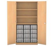 Flexeo Hochschrank mit Drehtüren, 3 Fachböden 12 große Boxen, HxB: 190 x 94,4 cm