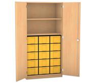 Flexeo Hochschrank mit Drehtüren, 2 Fachböden 15 große Boxen, HxB: 190 x 94,4 cm