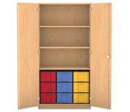 Flexeo Hochschrank mit Drehtüren, 3 Fachböden 9 große Boxen, HxB: 190 x 94,4 cm