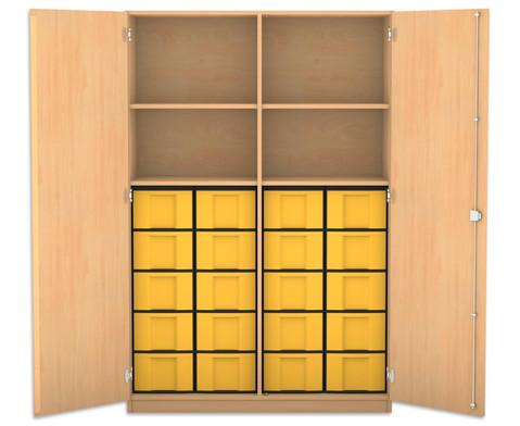 Flexeo Hochschrank mit 4 Faechern 20 grossen Boxen und Tueren
