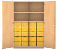 Flexeo Hochschrank mit Drehtüren, 4 Fachböden mit Mittelwand, 20 große Boxen