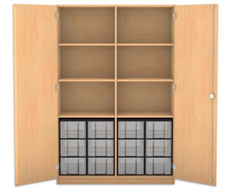 Flexeo Hochschrank mit 6 Faechern 12 grossen Boxen und Tueren-1