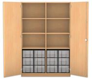 Flexeo Hochschrank mit Drehtüren, 6 Fachböden mit Mittelwand, 12 große Boxen