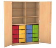 Flexeo Hochschrank mit Drehtüren, 6 Fachböden mit Mittelwand, 16 große Boxen