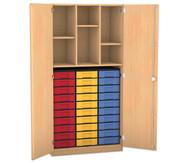 Flexeo Hochschrank mit Drehtüren, 2 Mittelwände, 3 Fachböden, 30 kleine Boxen, HxB: 190 x 94,4 cm