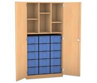 Flexeo Hochschrank mit Drehtüren, 2 Mittelwände, 3 Fachböden, 15 große Boxen, HxB: 190 x 94,4 cm