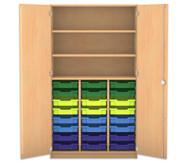 Flexeo Hochschrank mit Drehtüren, 24 kleine Boxen oben 2 Fachböden  HxB: 190 x 108,1 cm