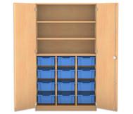 Flexeo Hochschrank mit Drehtüren, 12 große Boxen oben 2 Fachböden  HxB: 190 x 108,1 cm