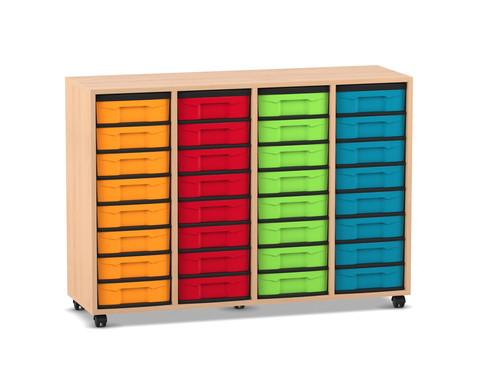 Flexeo Boxen-Regal 4 Reihen mit kleinen Boxen 32 Stueck