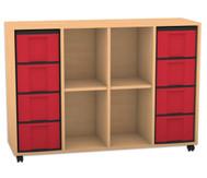 Flexeo Regal mit 4 Reihen, 4 Fächern und 8 großen Boxen