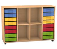 Flexeo Regal, 4 Reihen, 2 Fachböden, 16 kleine Boxen, HxBxT: 93 x 130,7 x 40,8 cm