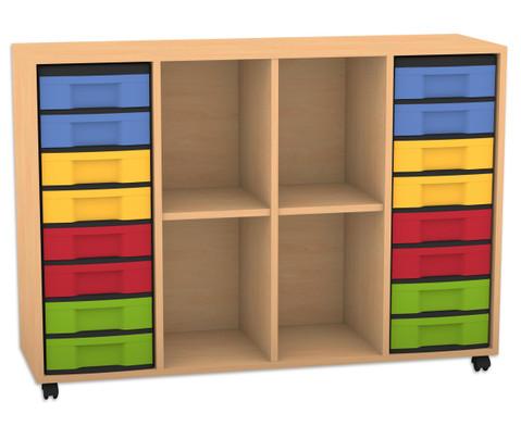 Flexeo Regal mit 4 Reihen 4 Faechern und 16 kleinen Boxen