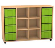 Flexeo Regal mit 3 Reihen, 6 Fächern und 8 großen Boxen