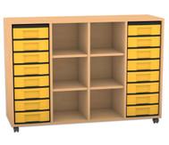 Flexeo Regal, 4 Reihen, 4 Fachböden, 16 kleine Boxen, HxBxT: 93 x 130,7 x 40,8 cm