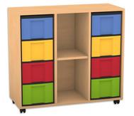 Flexeo Regal, 3 Reihen, 1 Fachboden, 8 große Boxen HxBxT: 93 x 98,5 x 40,8 cm