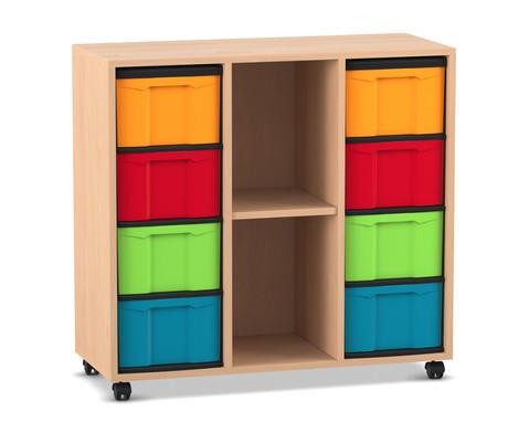 Flexeo Regal mit 3 Reihen 2 Faechern und 8 grossen Boxen