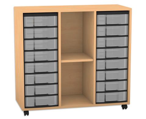 Flexeo Regal mit 3 Reihen 2 Faechern und 16 kleinen Boxen