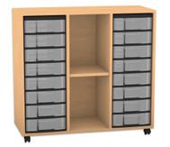 Flexeo Regal mit 3 Reihen, 2 Fächern und 16 kleinen Boxen