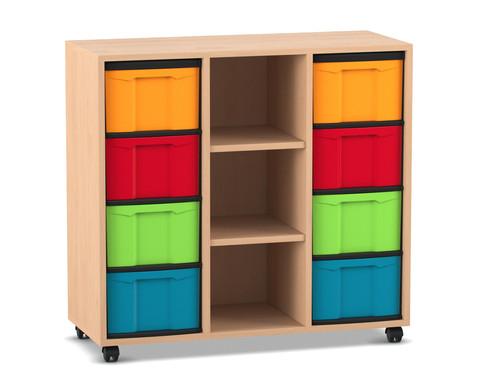 Flexeo Regal mit 3 Reihen 3 Faechern und 8 grossen Boxen