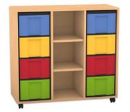 Flexeo Regal mit 3 Reihen, 3 Fächern und 8 großen Boxen