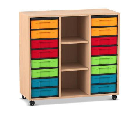 Flexeo Regal mit 3 Reihen 3 Faechern und 16 kleinen Boxen