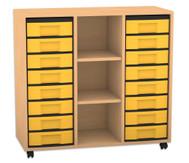 Flexeo Regal mit 3 Reihen, 3 Fächern und 16 kleinen Boxen