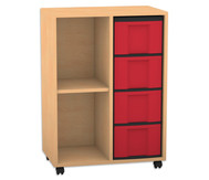 Flexeo Regal, 2 Reihen, 1 Fachboden, 4 große Boxen HxBxT: 93 x 66,5 x 40,8 cm