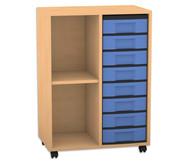 Flexeo Regal, 2 Reihen, 1 Fachboden, 8 kleine Boxen, HxBxT: 93 x 66,5 x 41 cm