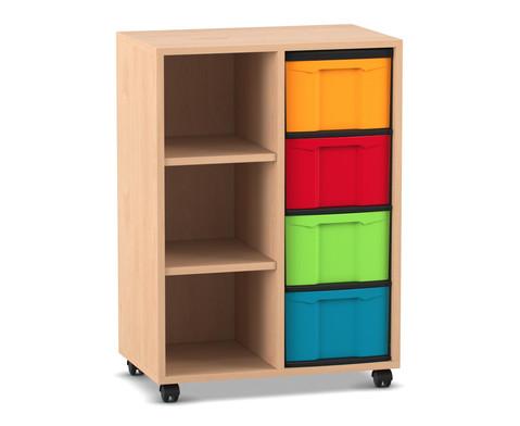 Flexeo Regal mit 2 Reihen 3 Faechern und 4 grossen Boxen rechts