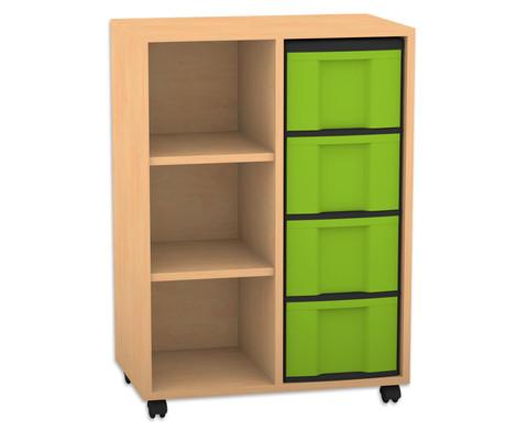 flexeo regal mit 2 reihen 3 f chern und 4 gro en boxen rechts. Black Bedroom Furniture Sets. Home Design Ideas