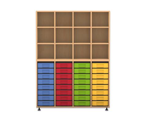 Flexeo Regal mit 4 Reihen 12 Faechern und 32 kleinen Boxen unten