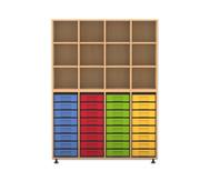 Flexeo Regal mit 4 Reihen, 12 Fächern und 32 kleinen Boxen unten