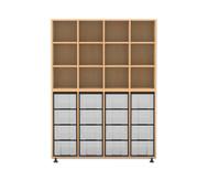 Flexeo Regal, 4 Reihen, 16 große Boxen HxBxT: 178,1 x 130,7 x 40,8 cm
