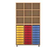 Flexeo Regal, 3 Reihen, 24 kleine Boxen HxBxT: 178,1 x 98,5 x 40,8 cm