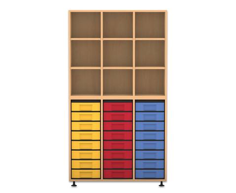 Flexeo Regal 3 Reihen 24 kleine Boxen HxBxT 1781 x 986 x 408 cm