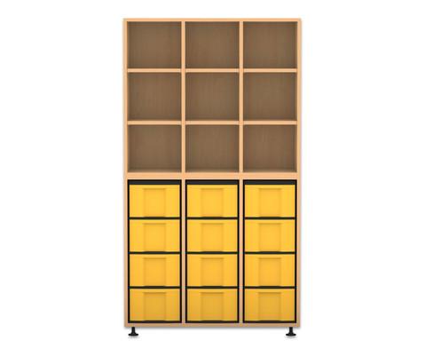 Flexeo Regal 3 Reihen 12 grosse Boxen HxBxT 1781 x 986 x 408 cm