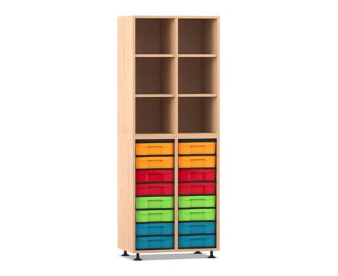 Flexeo Regal mit 2 Reihen 6 Faechern und 16 kleinen Boxen unten