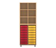 Flexeo Regal mit 2 Reihen, 6 Fächern und 16 kleinen Boxen unten