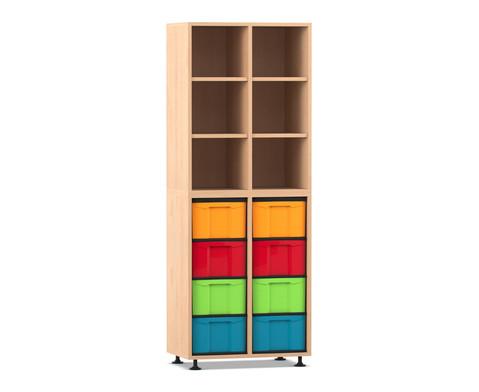 Flexeo Regal mit 2 Reihen 6 Faechern und 8 grossen Boxen unten