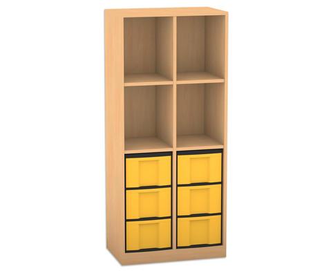 Flexeo Regal mit 2 Reihen 4 Faechern und 6 grossen Boxen unten