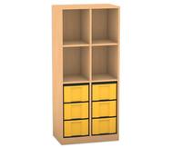 Flexeo Regal mit 2 Reihen, 4 Fächern und 6 großen Boxen unten