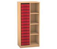 Flexeo Regal mit 2 Reihen, 4 Fächern und 14 kleinen Boxen links
