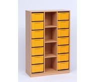 Flexeo Regal mit 3 Reihen, 4 Fächern und 14 großen Boxen